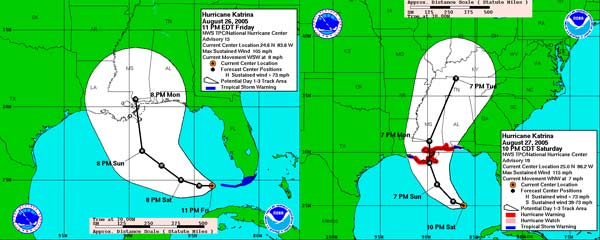 Two NHC forecast graphics showing the forecast track toward the Louisiana Mississippi border from 11pm Friday August 26 and 10pm Saturday August 27.