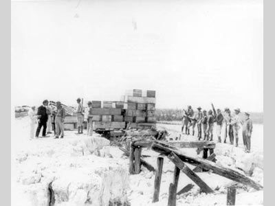 Men standing near 20 or more stacked boxes, which happen to be coffins