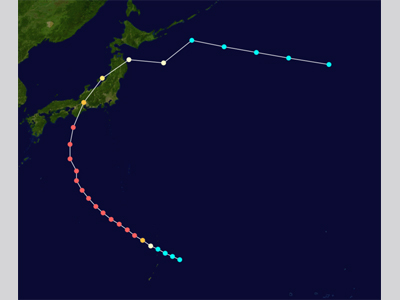Points on a map depicting the track of Super Typhoon Vera