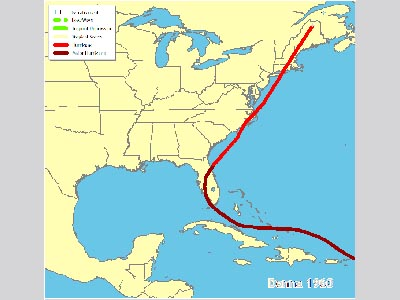 Points on a map representing the track of Hurricane Donna