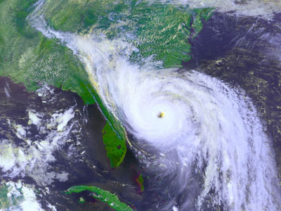 Satellite image of hurricane hugo