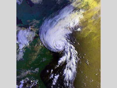 Satellite image of Hurricane Bob