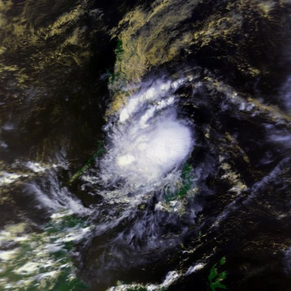 Satellite photograph of disorganised clouds