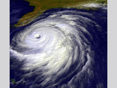 Image of a hurricane off the east coast of the Florida Panhandle