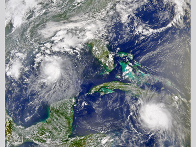 Image of the Carribean and the Gulf of Mexico with two hurricane formations