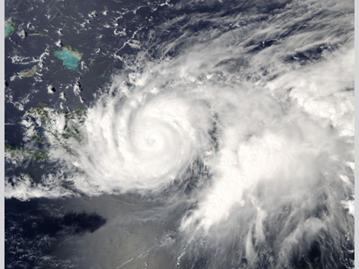 Satellite image of Hurricane Jeanne over Hispanola