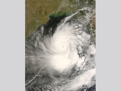Satellite image of Cyclone Nargis as a Category 2 Storm