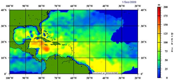 Image show that the depth to the 26°C isotherm (about 80°F) is deeper in the Caribbean Sea than the Gulf of Mexico.
