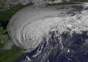 Image of Hurricane Irene at landfall in NY