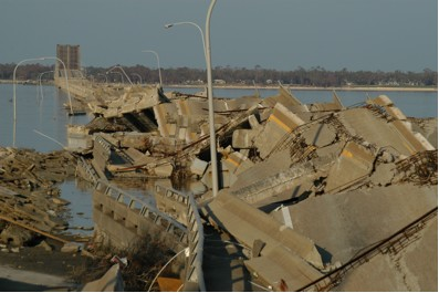 Fig 6. The Hwy 90 bridge from Biloxi, MS to Ocean Springs, MS, lay in a twisted mass as result of catastrophic wind and storm surge from Hurricane Katrina (November 2005).