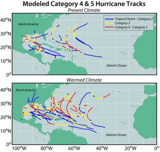Fig. 7.  Tracks of model- simulated Atlantic hurricanes reaching at least category 4 intensity.
