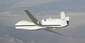 NASA's Global Hawk unmanned airborne system (UAS).  Image courtesy of NASA's Dryden Flight Research Center.
