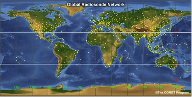 Map showing the global radiosonde network.