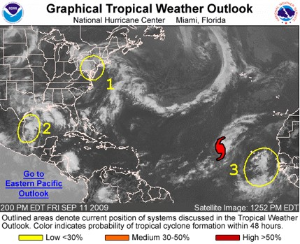 Graphical Tropical Weather Outlook from September 11, 2009.