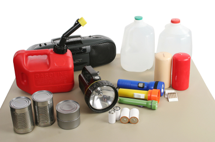 Photo of a disaster supply kit.