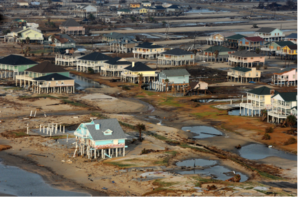 Photo showing the damage on Bolivar Peninsula, TX after Hurricane Ike (2008)