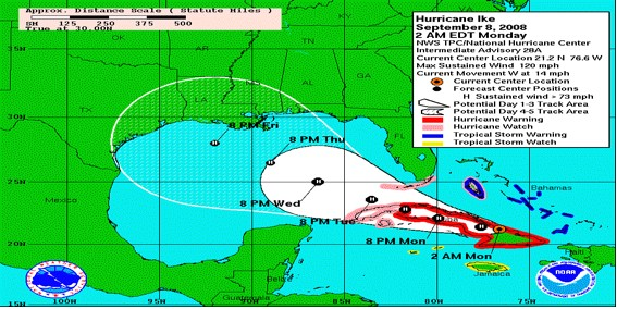 Tropical Cyclone Track Forecast Cone and Watch/Warning Graphic for Hurricane Ike (2008).