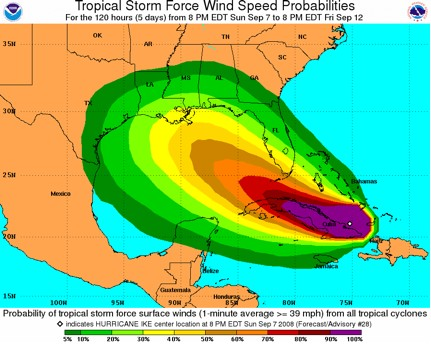 Tropical Cyclone Surface Wind Speed Probability Graphic for Hurricane Ike (2008).