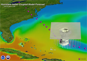 Three-dimensional view of Hurricane Isabel (2005) approaching the East Coast of the United States.