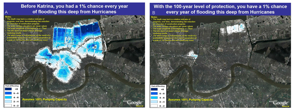 Flood risk maps for New Orleans Main produced by the IPET (2009) study.