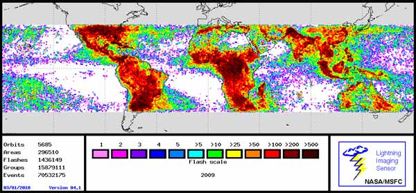 Map showing total lightning flashes in 2009.