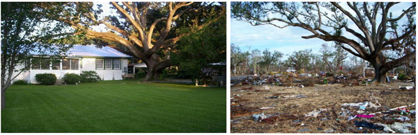A Mississippi house before and after Hurricane Katrina.