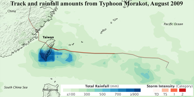 Track and total rain amount from Typhoon Morakot.