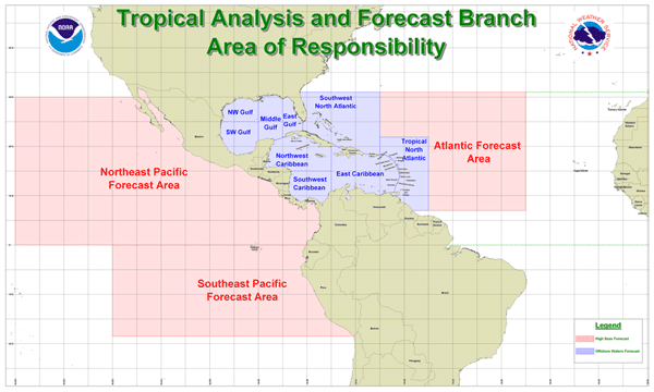 Map of National Hurricane Center forecast regions