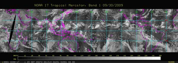 Image of visible data from NOAA low Earth orbiting satellites showing clouds.