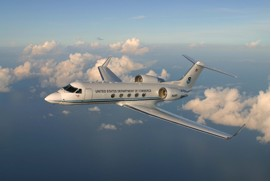 Image of a Gulfstream IV-SP (G-IV) reconnaissance twin turbofan jet aircraft,