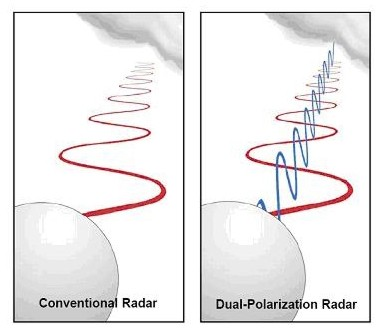 Diagram showing how dual-polarization radar works.