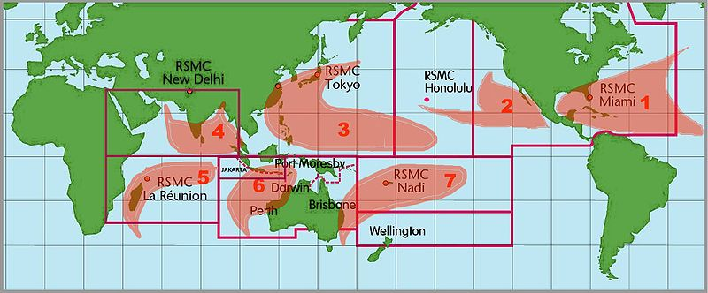 Locations of the RSMCs and TCWCs and their ocean basins of forecast responsibility.
