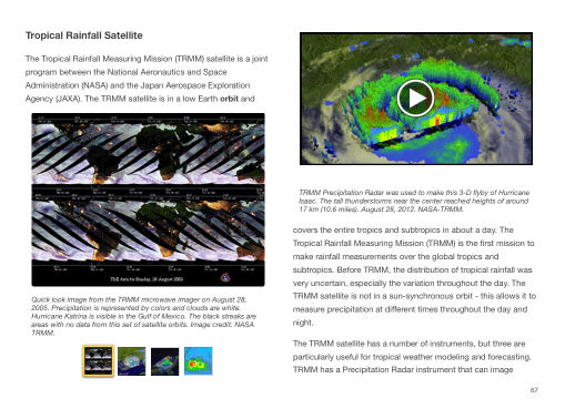 Example page showing imagery from the TRMM satellite