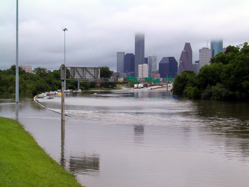 Flooding from Tropical Storm Allison along Interstate 45, just outside of Houston, TX
