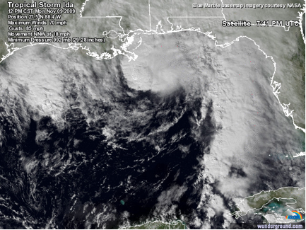 Afternoon satellite image of Tropical Storm Ida (2009), showing the classic signature of a tropical storm undergoing transition to an extratropical cyclone.