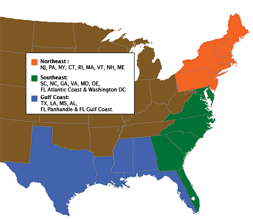 US map showing regions