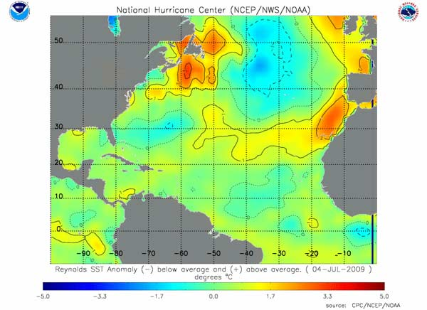 Sea surface temperature anomaly map for the North Atlantic.