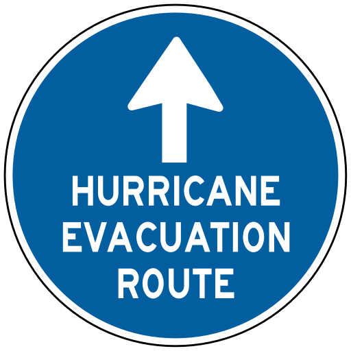 Photo of an evacuation route sign.