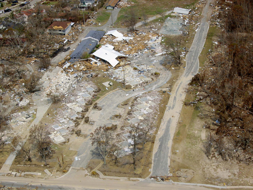 Hurricane Katrina damage in Biloxi Mississippi