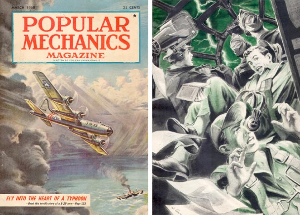A Popular Mechanics cover story from 1950 dramatized the dangers that the early typhoon hunters faced.