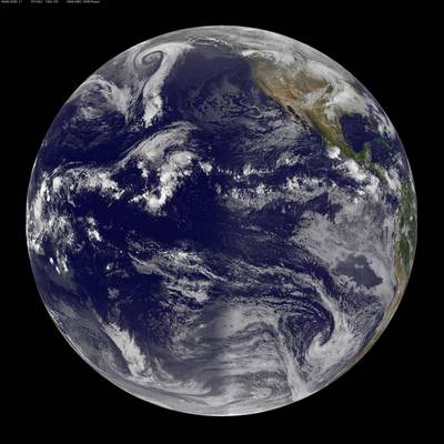 Image from the GOES West satellite showing the full disk view.